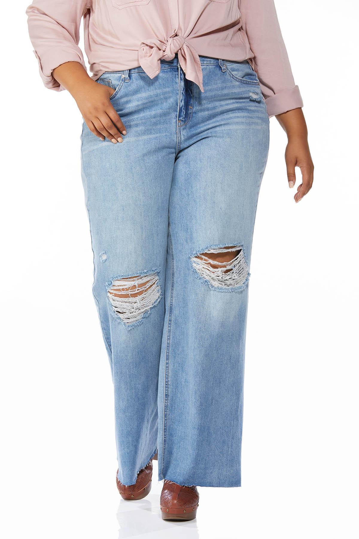 Plus Size Distressed Wide Leg Jeans