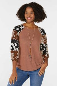 Plus Size Ribbed Mixed Floral Sleeve Top