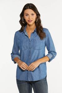 Plus Size Medium Wash Denim Shirt