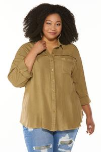 Plus Size Frayed High-Low Tunic