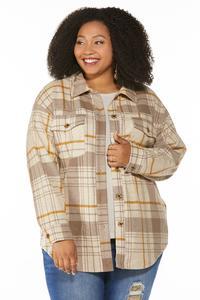 Plus Size Fleece Plaid Shacket