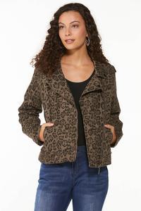 Plus Size Leopard Moto Jacket