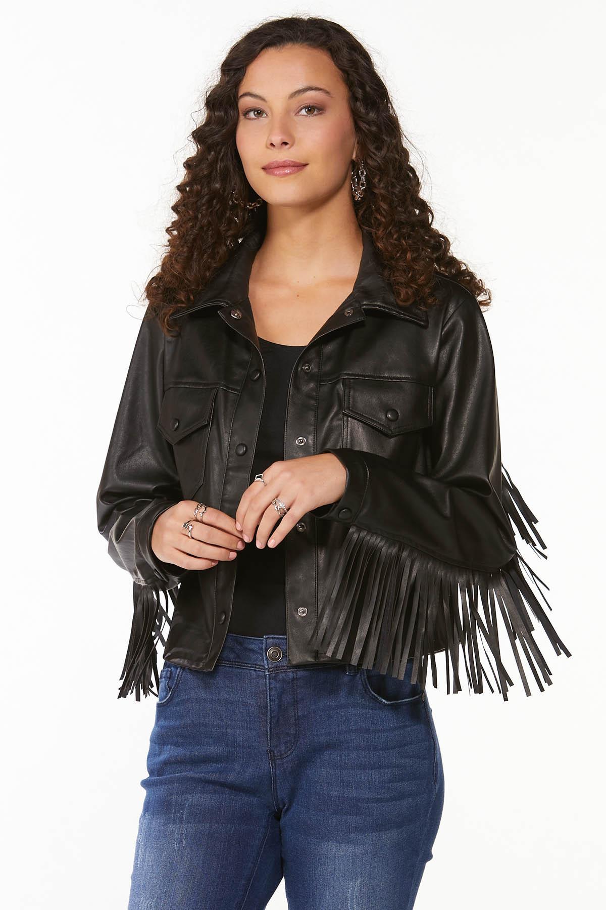 Fringe Faux Leather Jacket