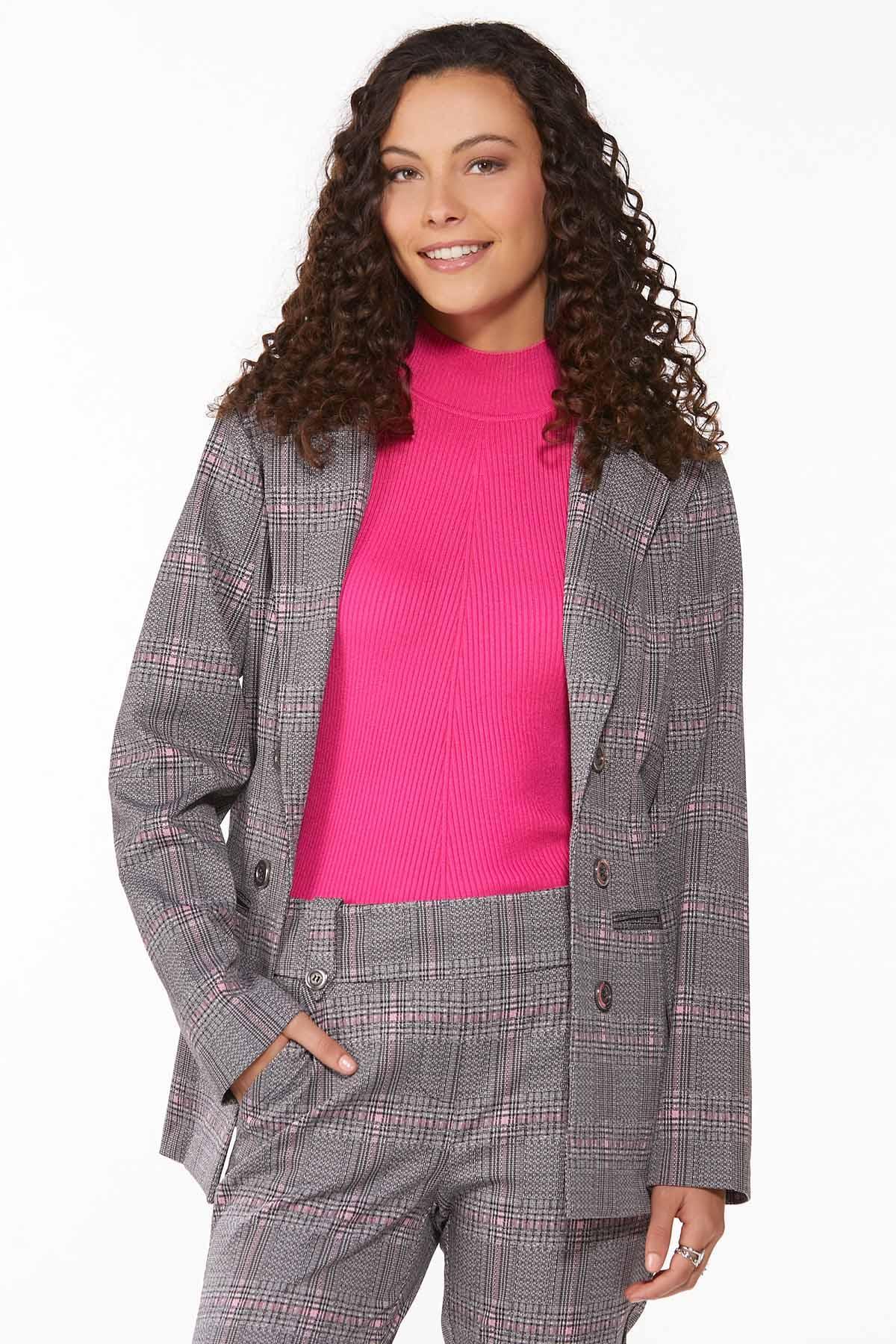 Plaid Hint Of Pink Blazer