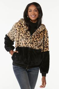 Plus Size Colorblock Faux Fur Jacket