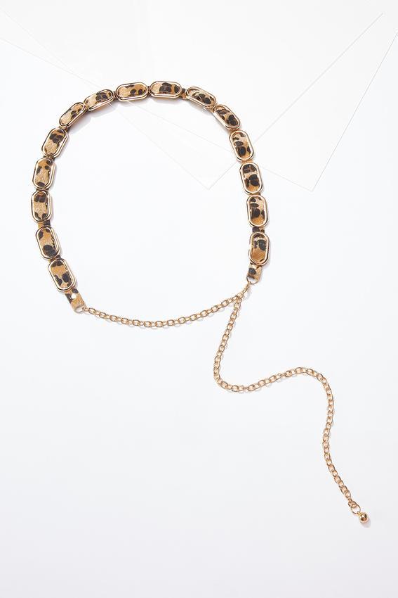 Plus Size Leopard Inset Chain Belt