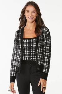 Houndstooth Cardigan Sweater