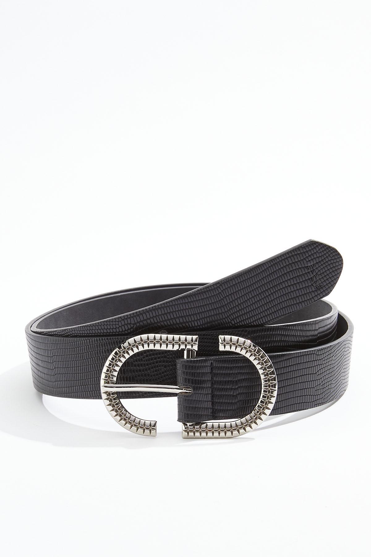 Plus Size Black Lizard Buckle Belt