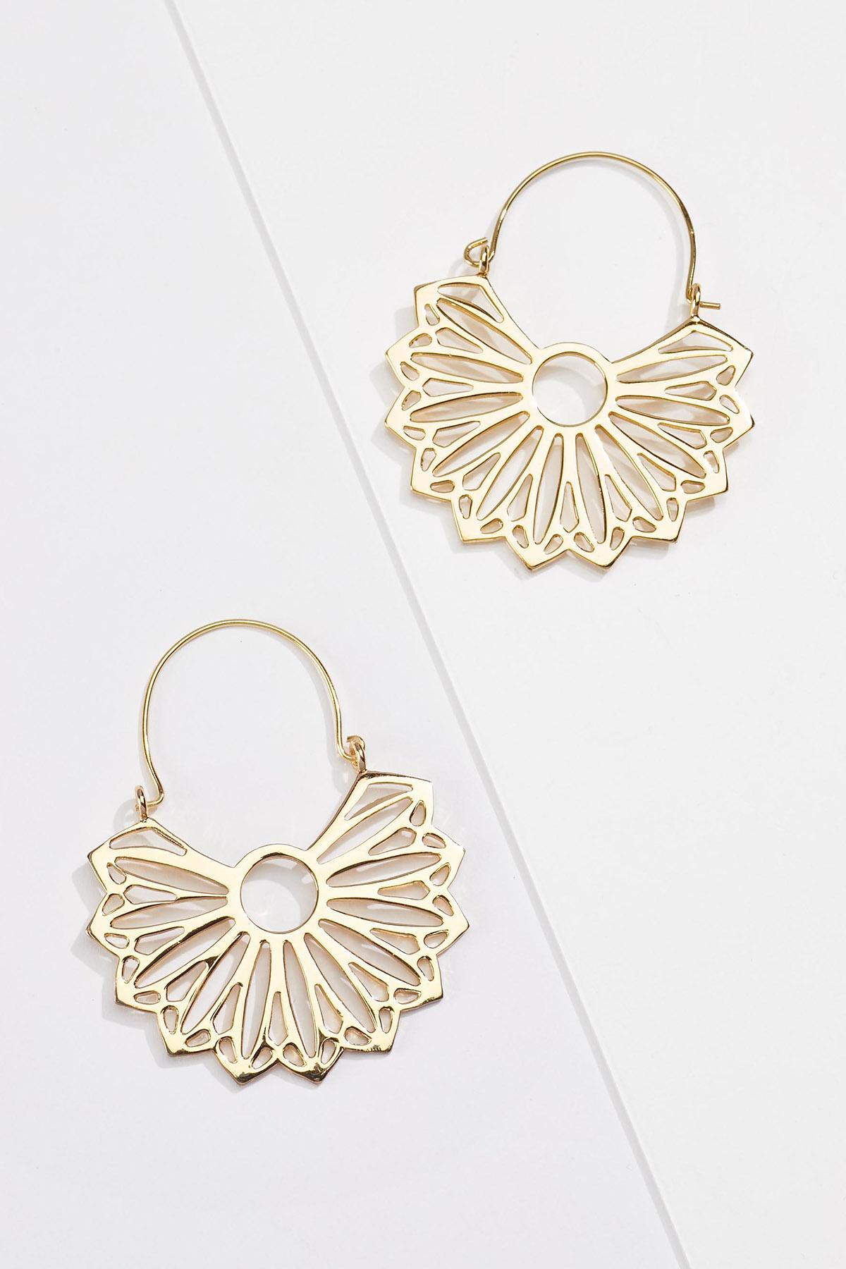 Lotus Flower Hoop Earrings