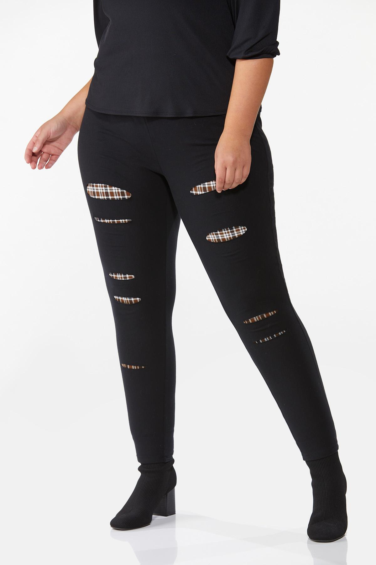 Plus Size Distressed Plaid Back Leggings