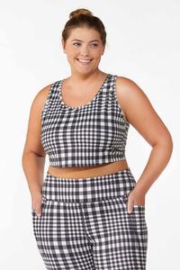 Plus Size Checkered Sports Bra