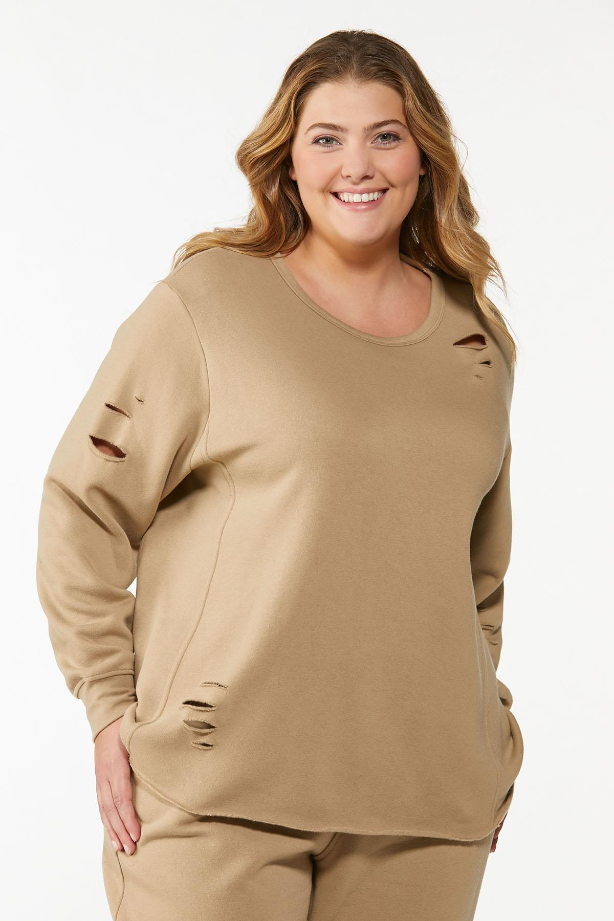 Plus Size Distressed Sweatshirt
