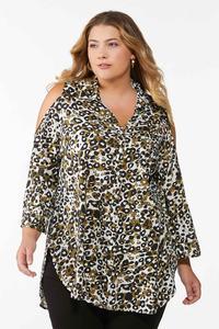 Plus Size Cold Shoulder Leopard Shirt