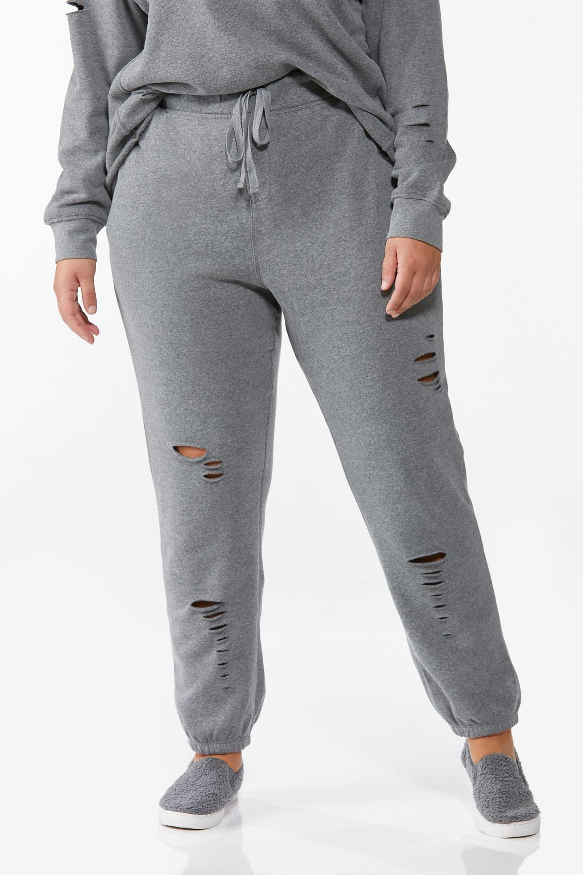 Plus Size Distressed Joggers