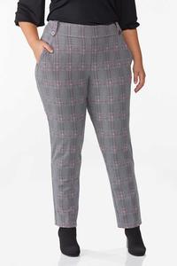 Plus Size Plaid Hint Of Pink Pants
