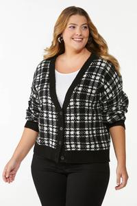 Plus Size Houndstooth Cardigan Sweater