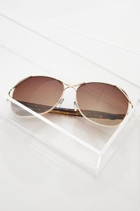Metal Bar Aviator Sunglasses