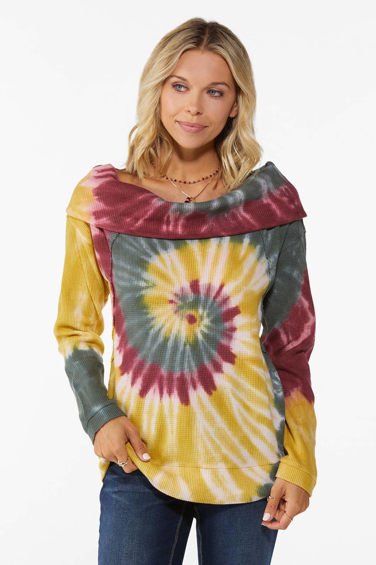 Tie Dye Cowl Neck Top