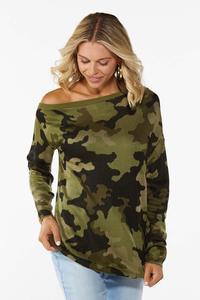 Camo Asymmetrical Sweater