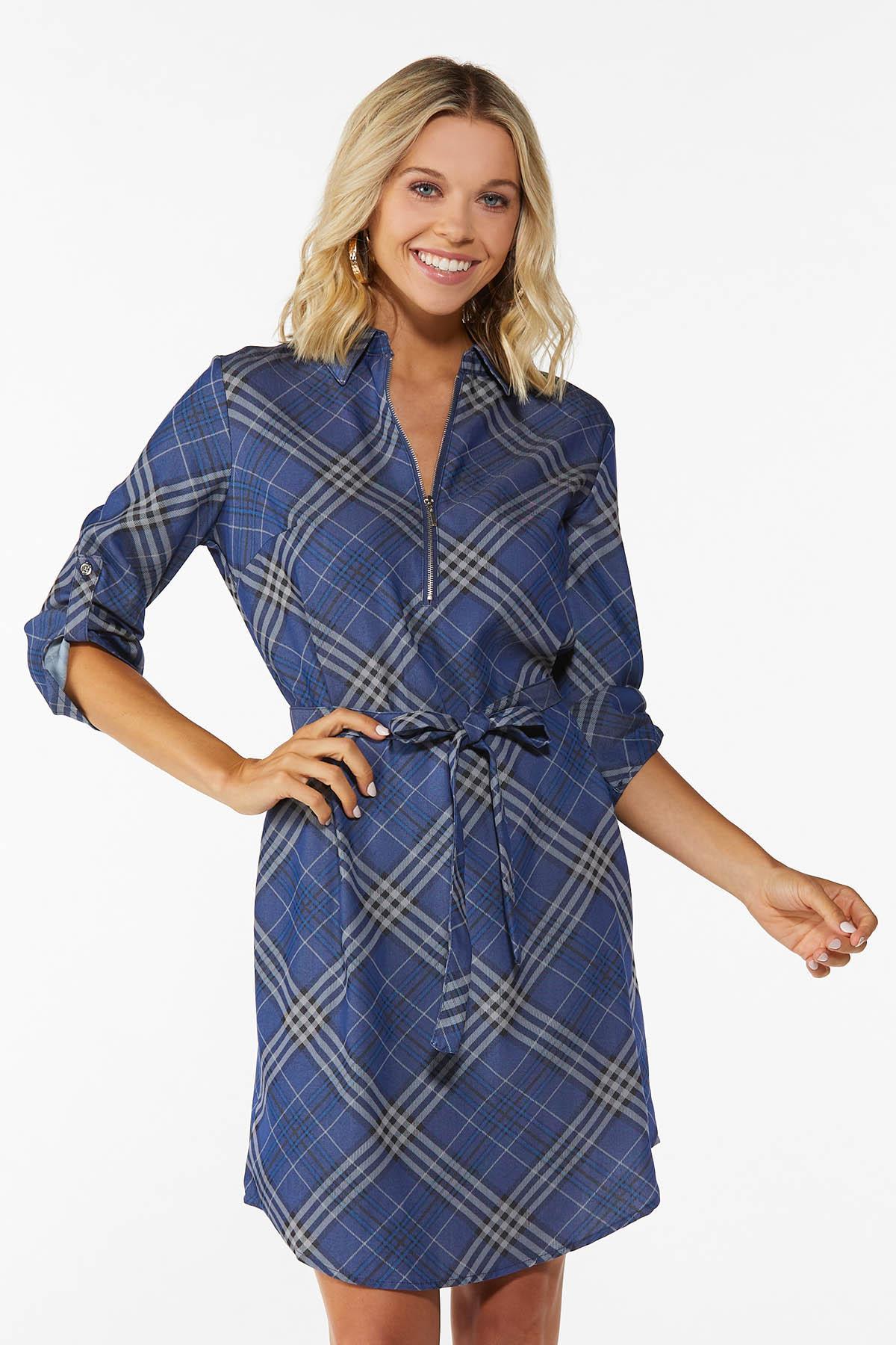 Blue Plaid Shirt Dress