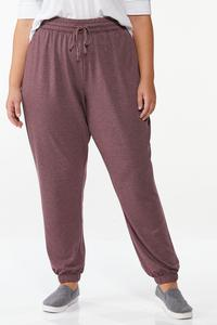 Plus Size Wine French Terry Joggers