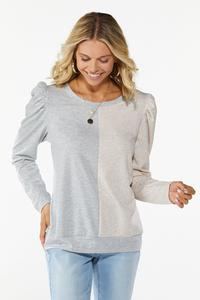 Plus Size Colorblock Puff Sleeve Top