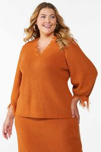 Plus Size Distressed Orange Sweater