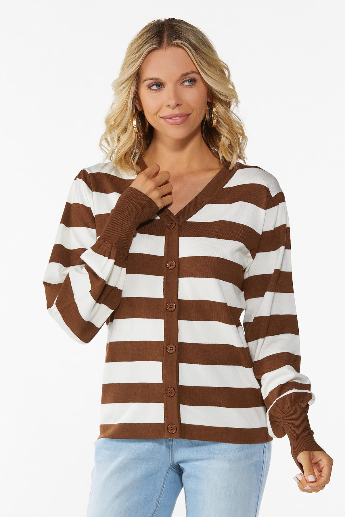Plus Size Caramel Latte Stripe Cardigan
