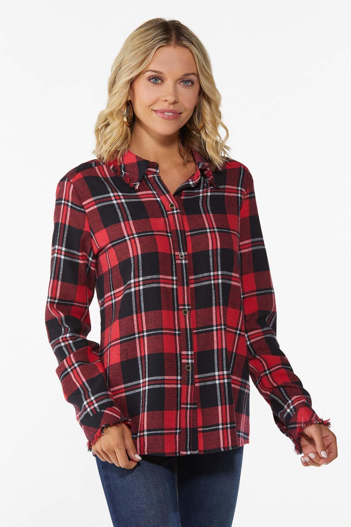 Plus Size Plaid Button Front Shirt