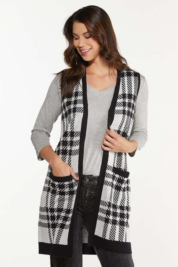 Plus Size Houndstooth Sweater Vest
