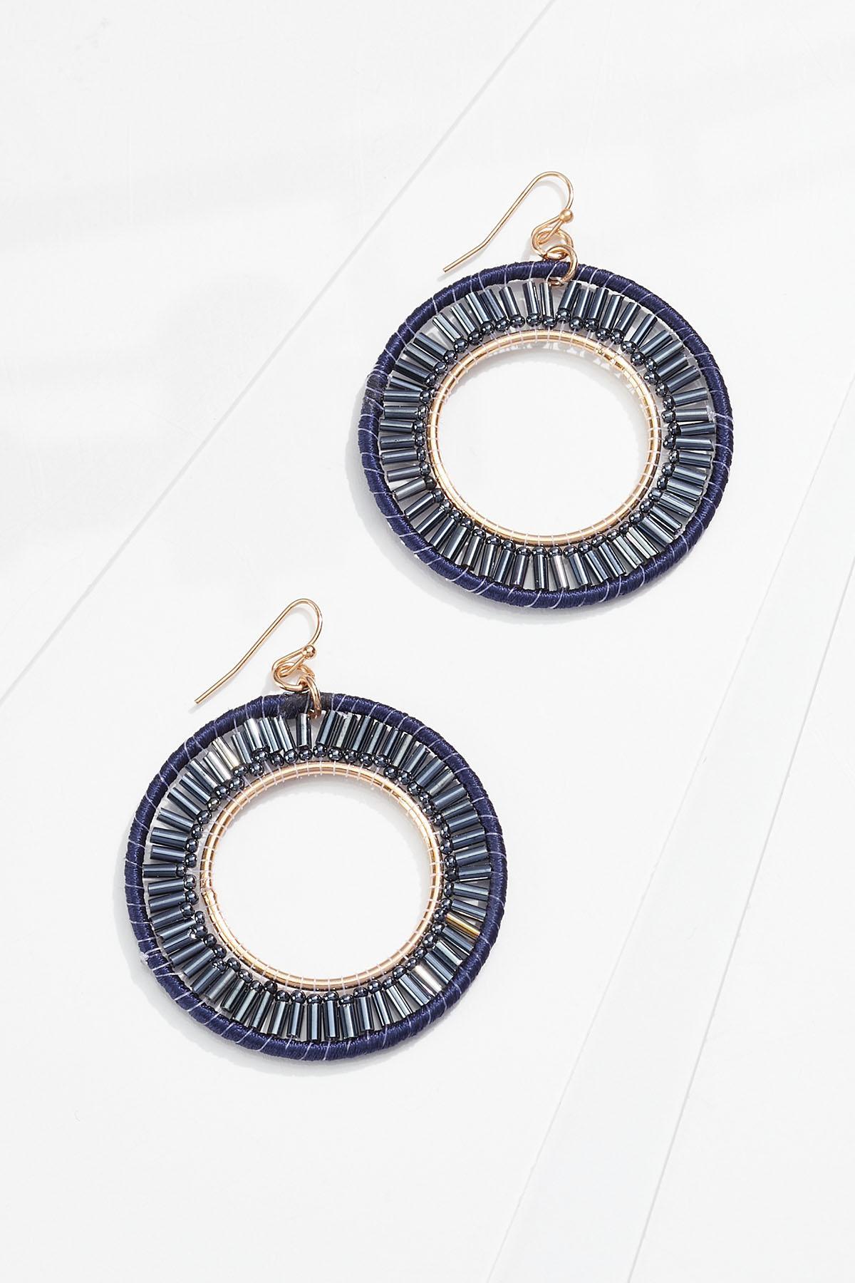 Navy Bead Circle Earrings