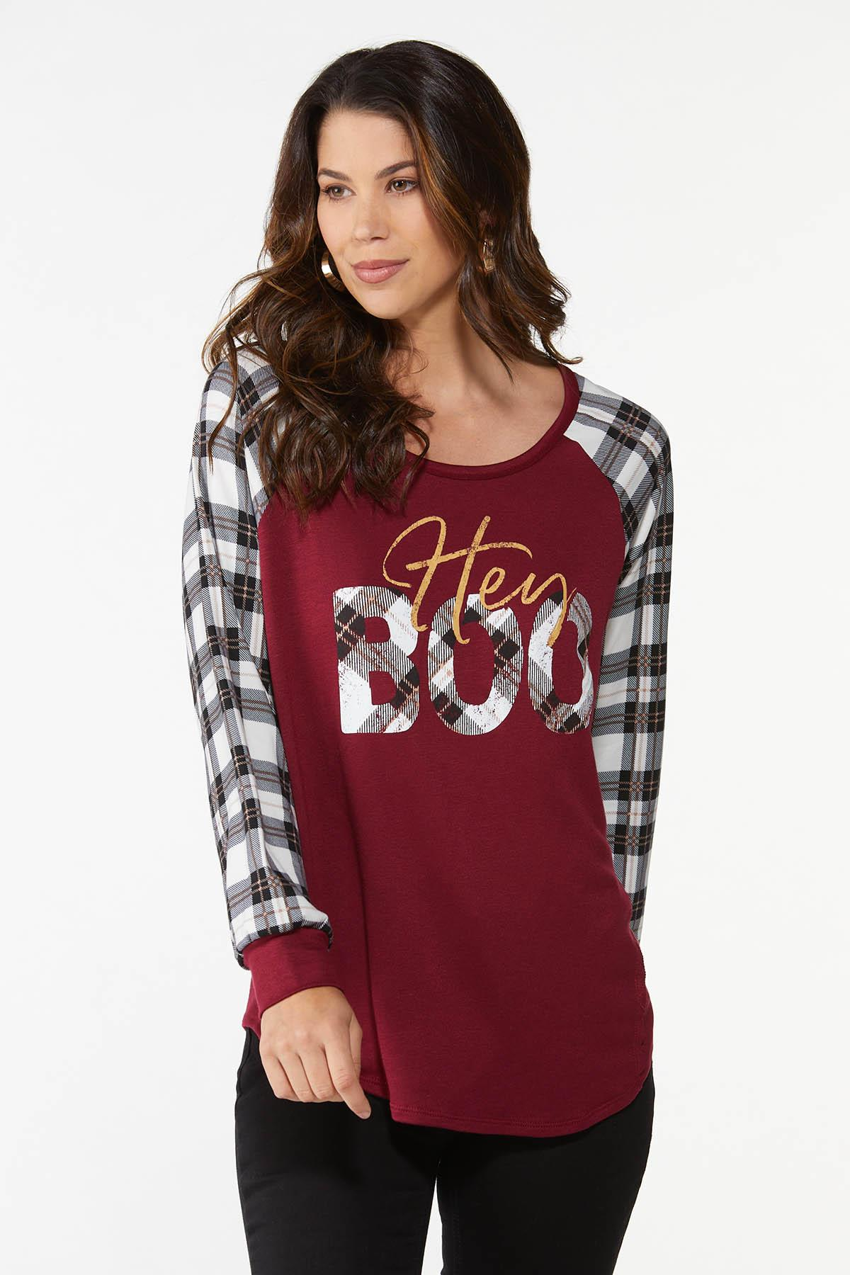 Plus Size Plaid Hey Boo Top