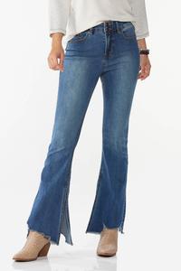 Jagged Hem Flare Jeans
