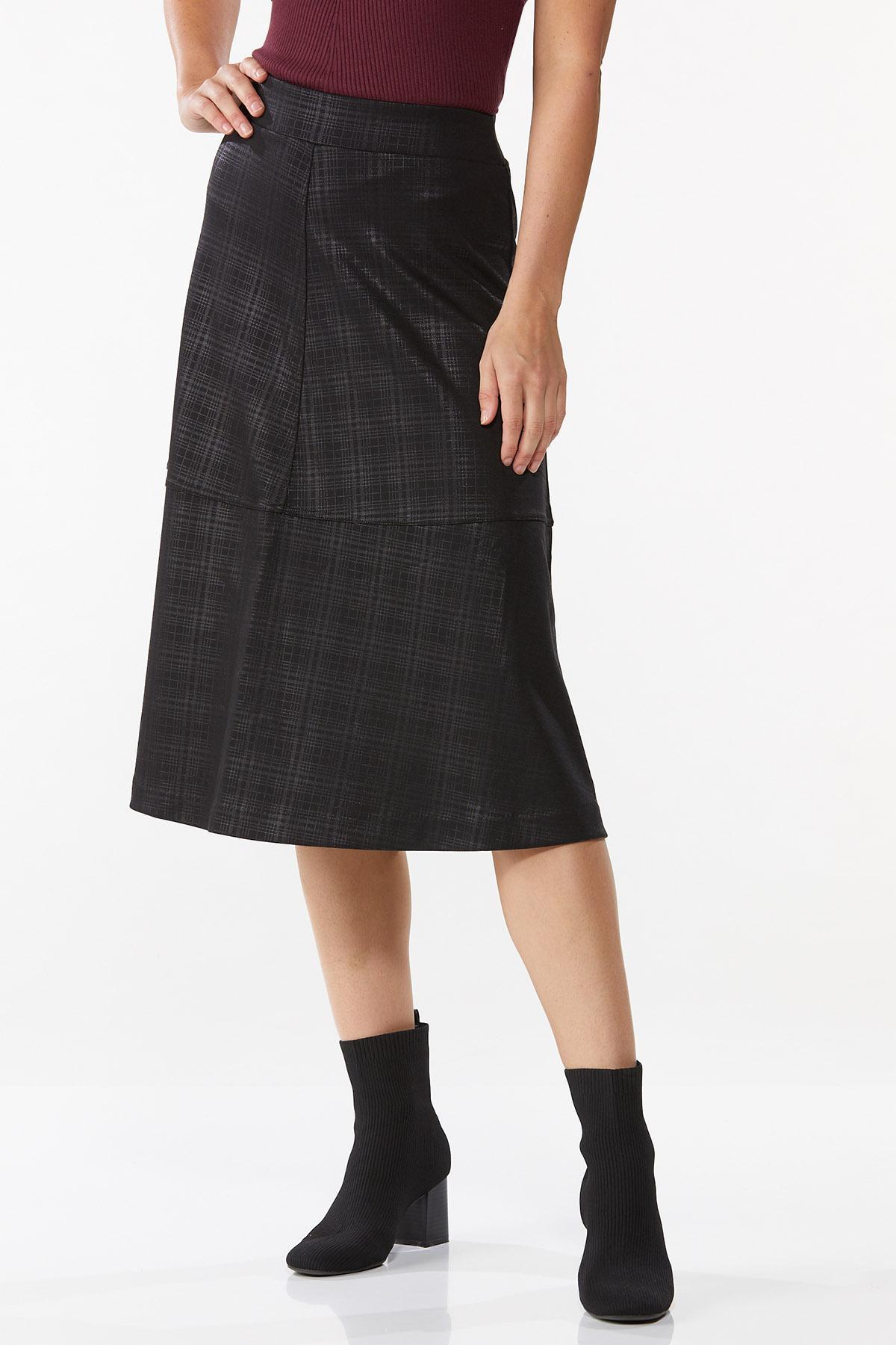 Coated Plaid Midi Skirt