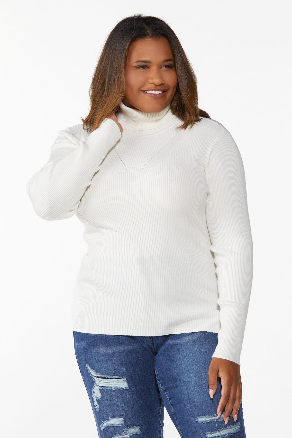Plus Size Ribbed Turtleneck Sweater