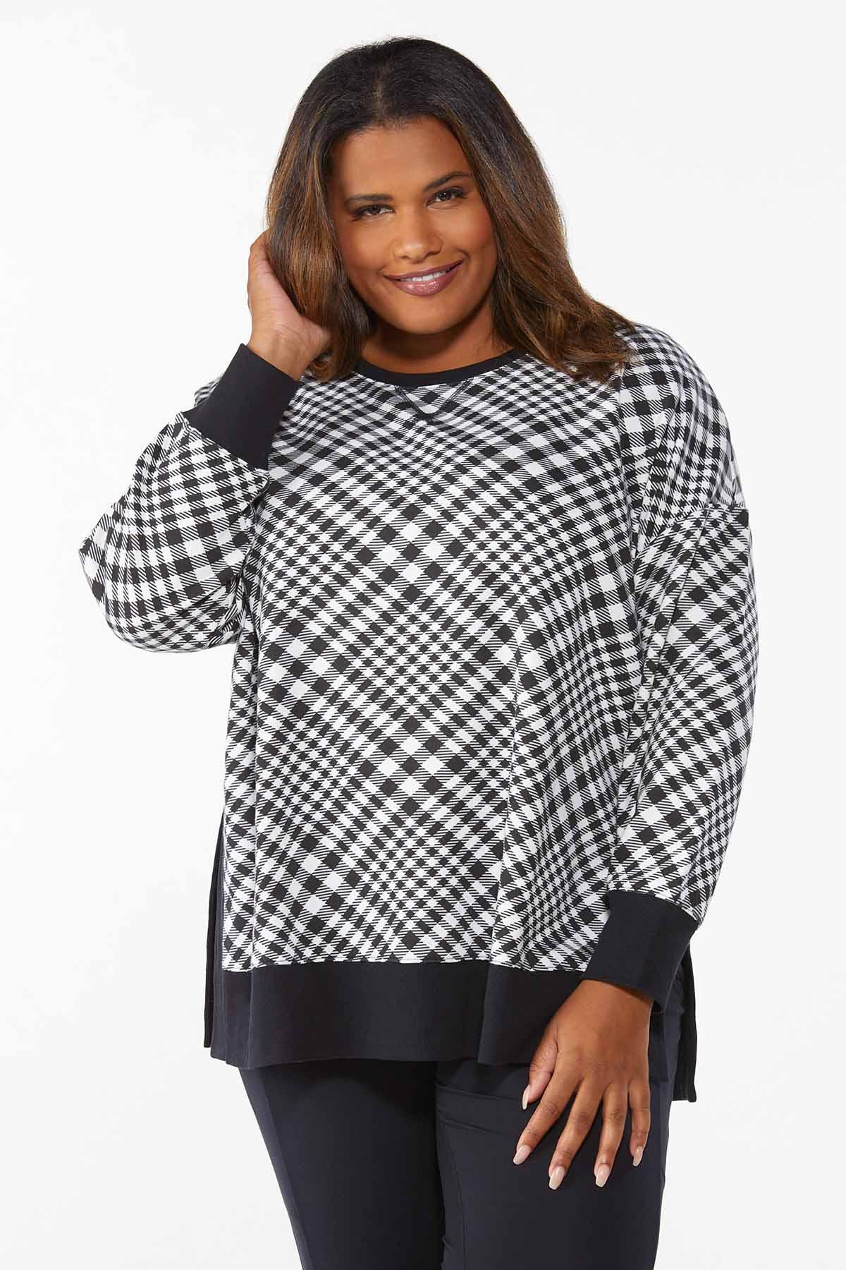 Plus Size Houndstooth Sweatshirt