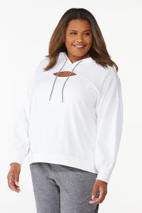 Plus Size Cutout Fleece Hoodie