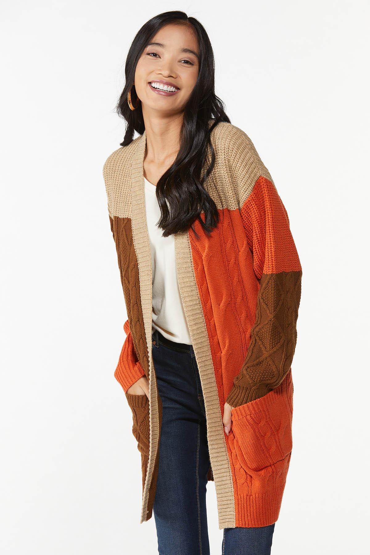Plus Size Autumn Colorblock Cardigan Sweater