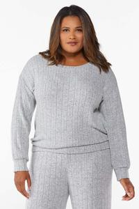 Plus Size Ribbed Knit Top