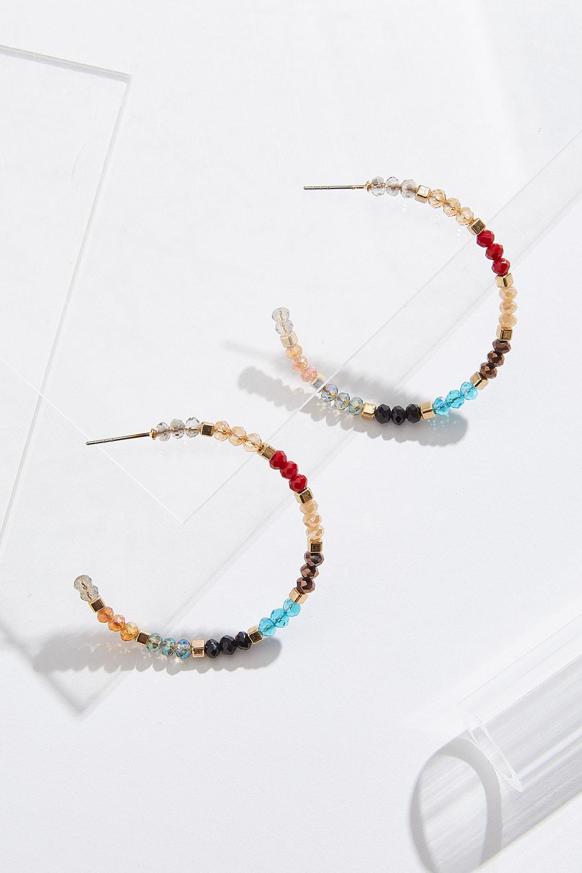 Colorblock Bead Hoop Earrings