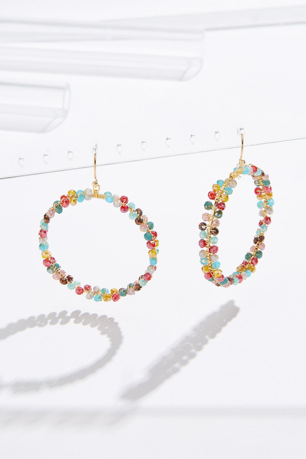 Cluster Bead Dangle Hoop Earrings