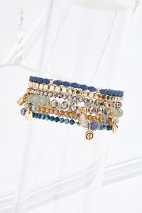 Navy Stone Stretch Bracelet Set