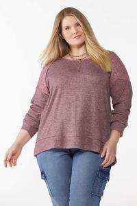 Plus Size Lace Shoulder Hacci Top