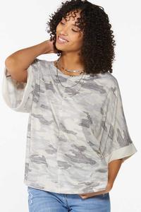Camo Kimono Sleeve Top