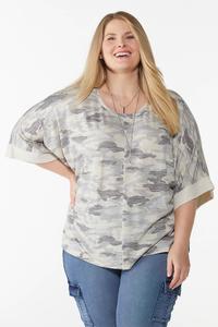 Plus Size Camo Kimono Sleeve Top
