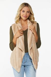 Plus Size Chevron Faux Fur Vest
