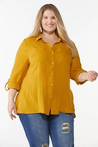 Plus Size Solid Textured Tunic