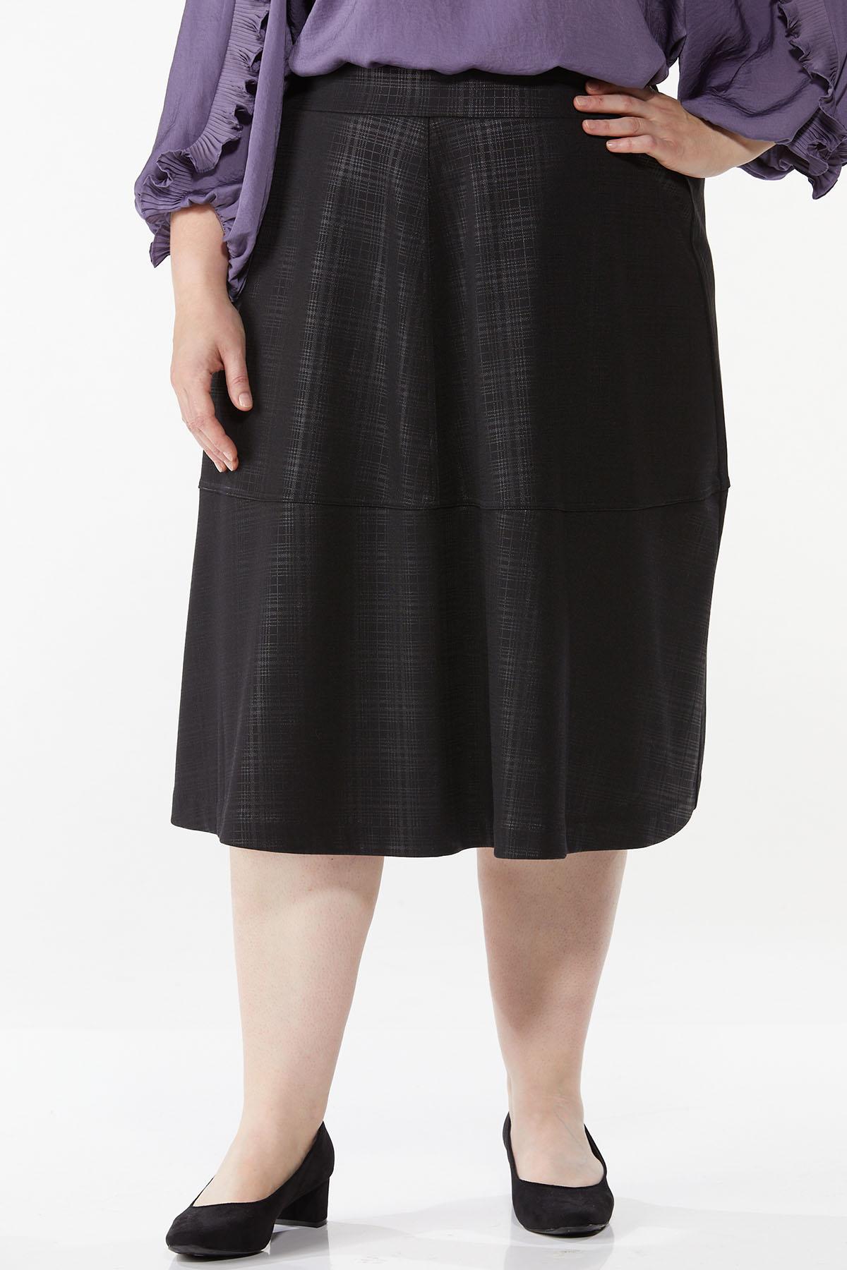 Plus Size Coated Plaid Midi Skirt