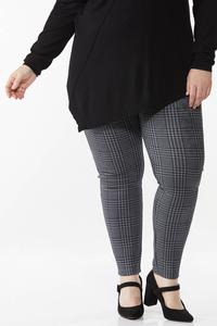 Plus Size Faux Suede Houndstooth Leggings