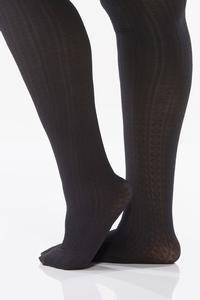 Plus Size Cable Knit Black Tights